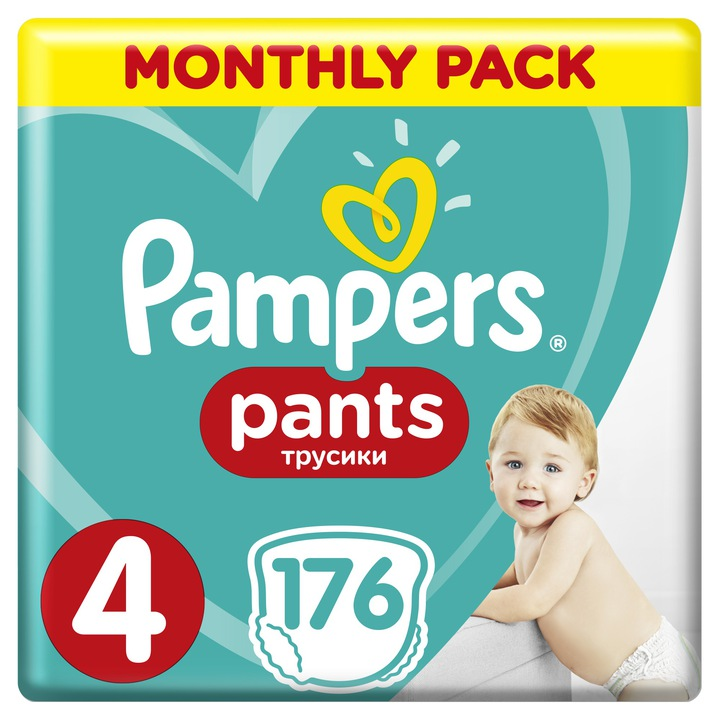 Pampers Pants 4 Active Baby Dry 9-15 kg 176 ks